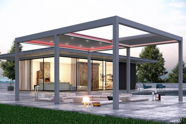 Retractable Tilting Louvred Roof System Awning Frame