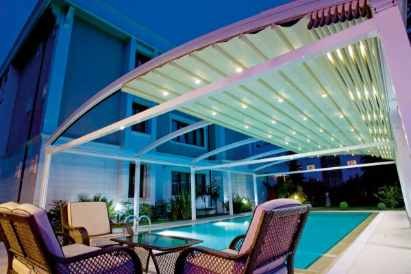 Fabric Retractable Motorised Roof Pergola Awning London Commercial Architecture Outdoor