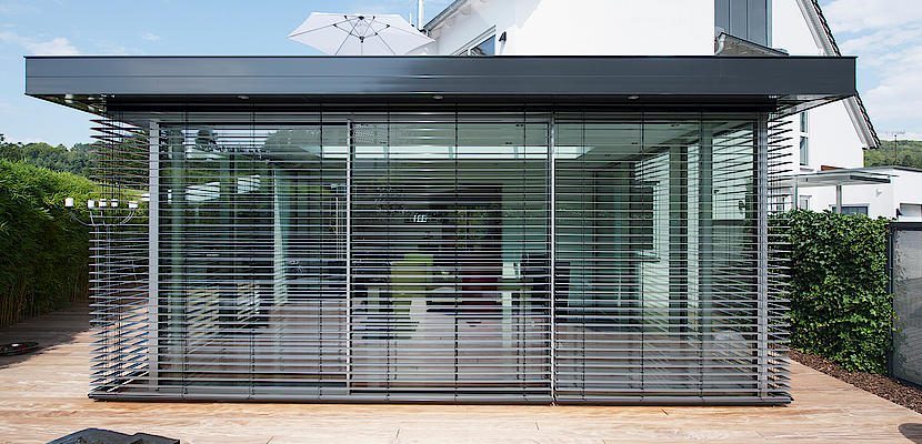 External Venetian Retractable Motorised Roof Pergola Awning London Commercial Architecture Outdoor